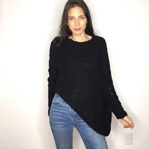 Stella Carakasi Black Asymmetrical Sheer Sweater